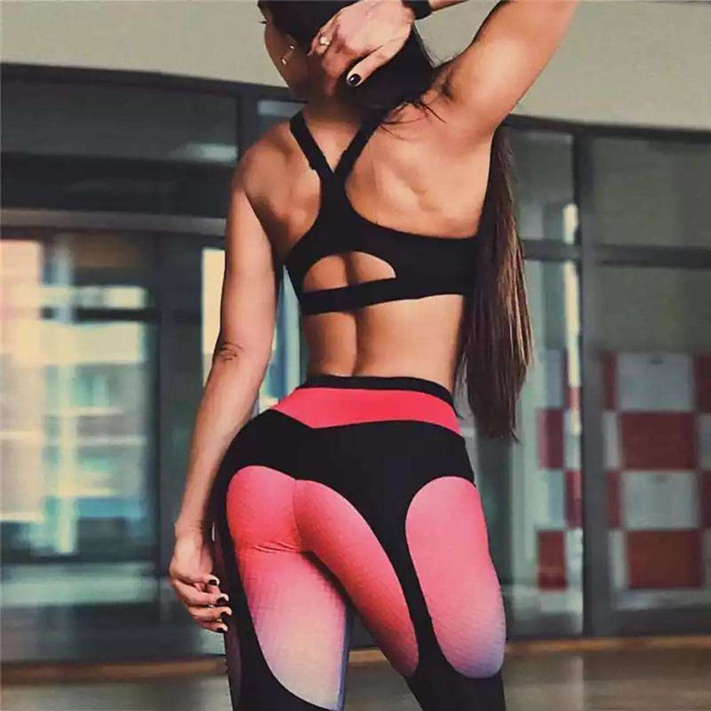High Waist Grid Splicing Women Fitness Yoga Stretch Leggings Slim Pencil Pants, Snapfitnessdeals, Leggings, high-waist-grid-splicing-women-fitness-yoga-stretch-leggings-slim-pencil-pants, spo