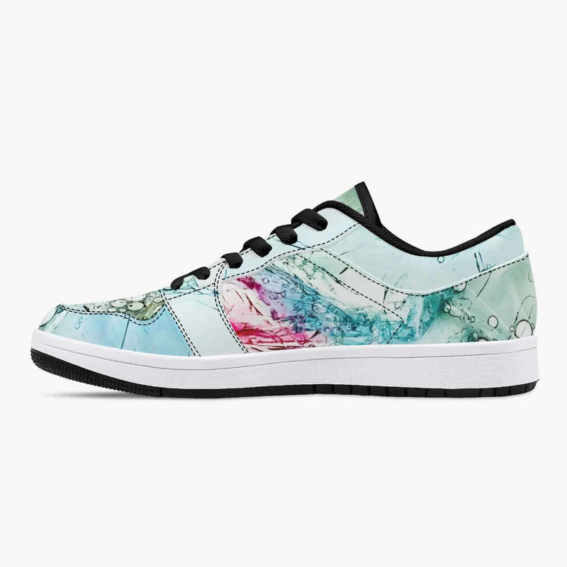 Low-Top Leather Sneakers - White/Green/Blue, Snapfitnessdeals, Trendy Shoes, low-top-leather-sneakers-white-green-blue, fashion, low top, low-top Shoes, low-top Sneakers, Shoes, Sneakers, spo