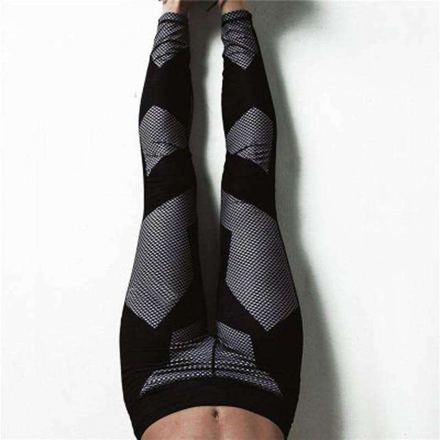 Maryigean Mesh Pattern Print Leggings Fitness Leggings for Women Sporting Workout Leggings Elastic Slim Black White Yoga Pants, eprolo, , maryigean-mesh-pattern-print-leggings-fitness-legging
