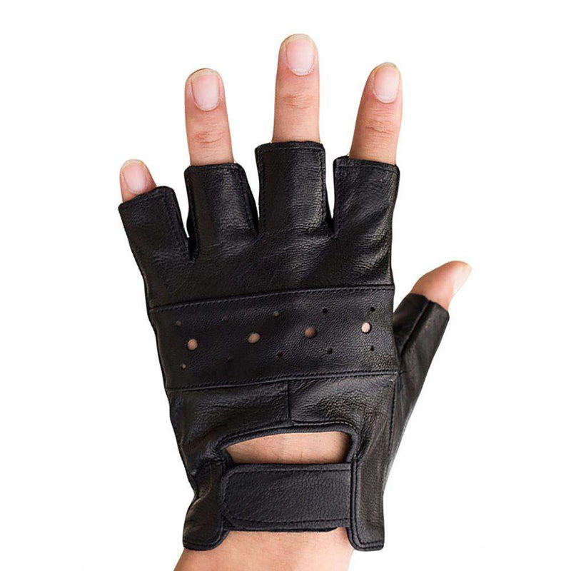 Men Faux Leather Gloves Sports Workout Weightlifting Half Finger Anti-skid Wrap, Snapfitnessdeals, Gloves & Mittens, men-faux-leather-gloves-sports-workout-weightlifting-half-finger-anti-skid