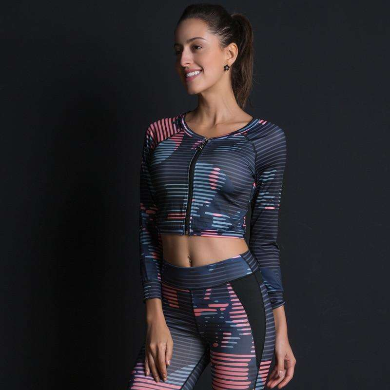 Sport Suit Print Fitness Suit Leggings Breathable Yoga Set 2 Piece Zipper Sportswear T-shirt Sport Pants Tracksuit For Women, eprolo, , new-sport-suit-print-fitness-suit-leggings-breathable-y