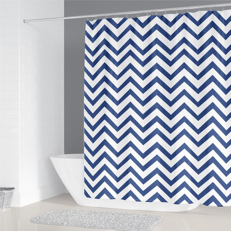 Navy Blue Stripes Shower Curtain