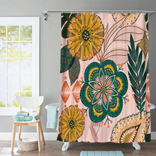 Load image into Gallery viewer, Green Flower Shower Curtain