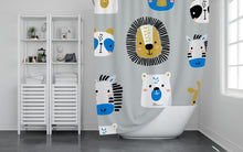 Load image into Gallery viewer, Jungle Animals Shower Curtain