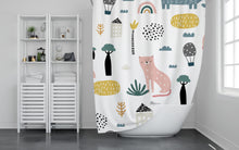 Load image into Gallery viewer, Pink Fox Shower Curtain