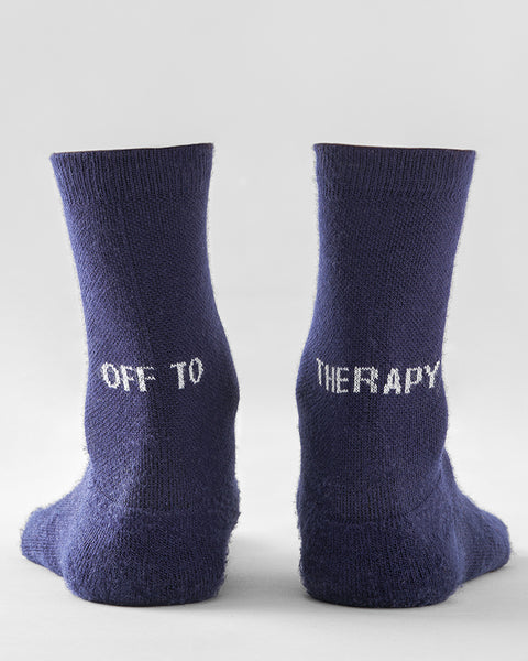 'Off to therapy' socks