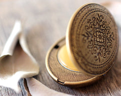 Chaparral Solid Perfume Mini Compact, Engraved Pattern in Brass or Silver