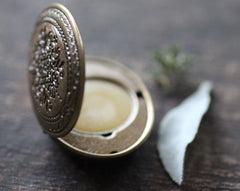 Chaparral Solid Perfume Mini Compact, Floral Vine Design in Brass