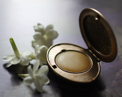 Cimbalom Solid Perfume Mini Compact, Engraved Diamond Pattern in Brass