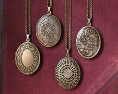 Locket Necklace with Solid Perfume, Brass Filigree