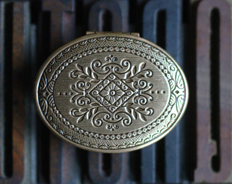 Aumbre Solid Perfume Mini Compact, Engraved Diamond Pattern in Brass