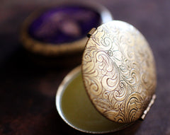Solid Natural Perfume in Engraved Oval Case