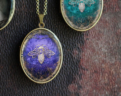 Solid Perfume Art Locket Necklace - Amethyst Honey Bee