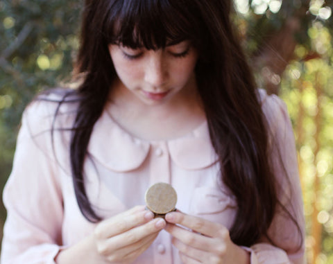 Q Solid Natural Perfume in Round Brass Compact