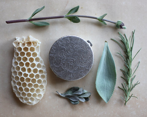 Chaparral Natural Solid Perfume in Round Compact with Crochet Pouch
