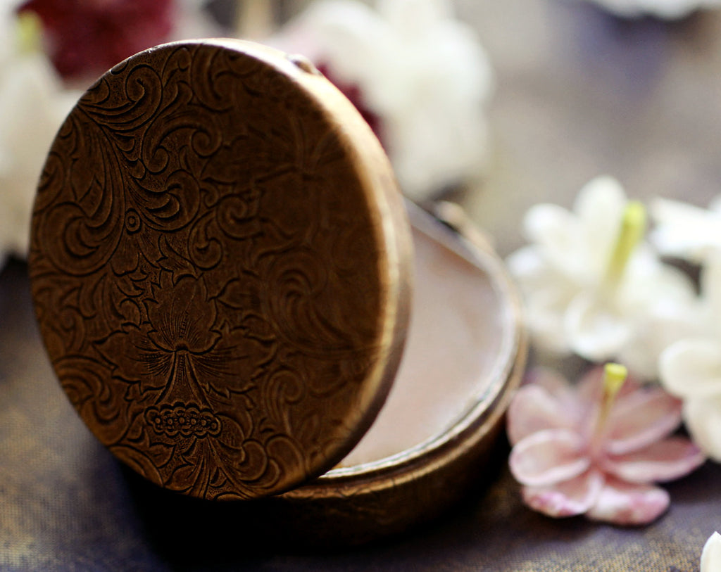 Cimbalom Natural Solid Perfume Round Compact with Pouch