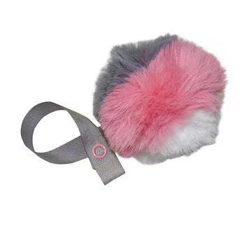Tri Color Grey, White & Pink  Fur Pom Pom