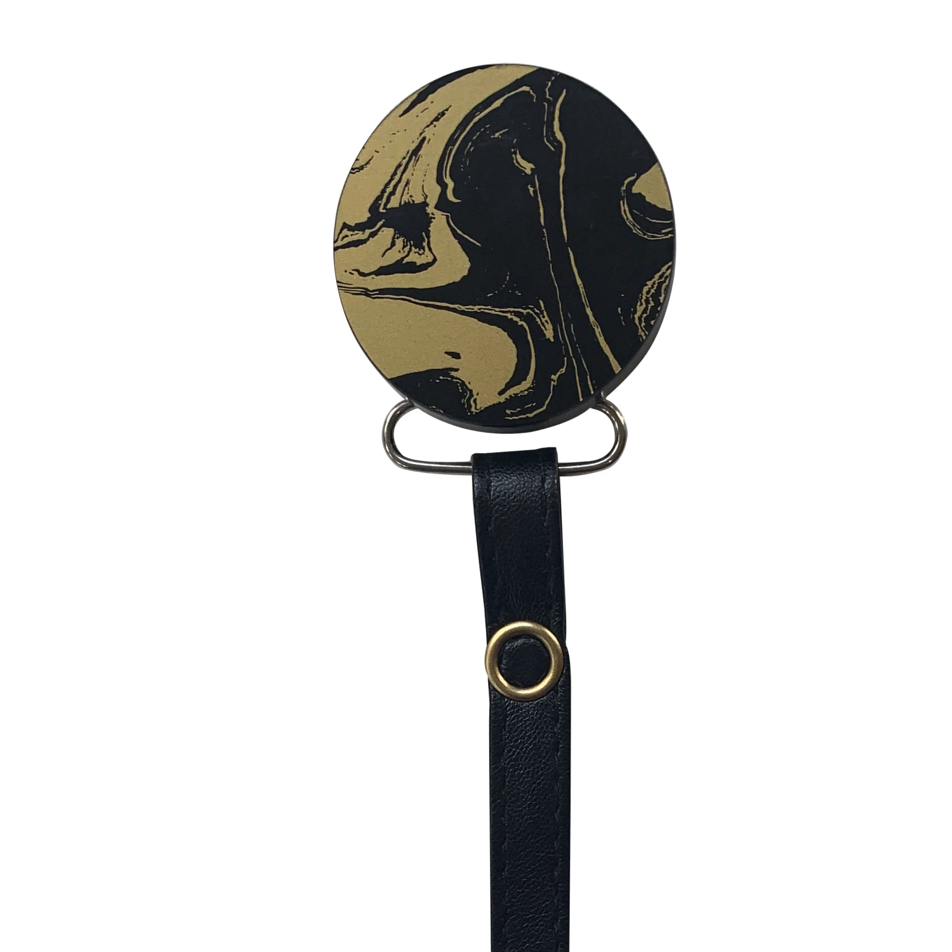 Classy Paci MARBLE black and gold round pacifier clip