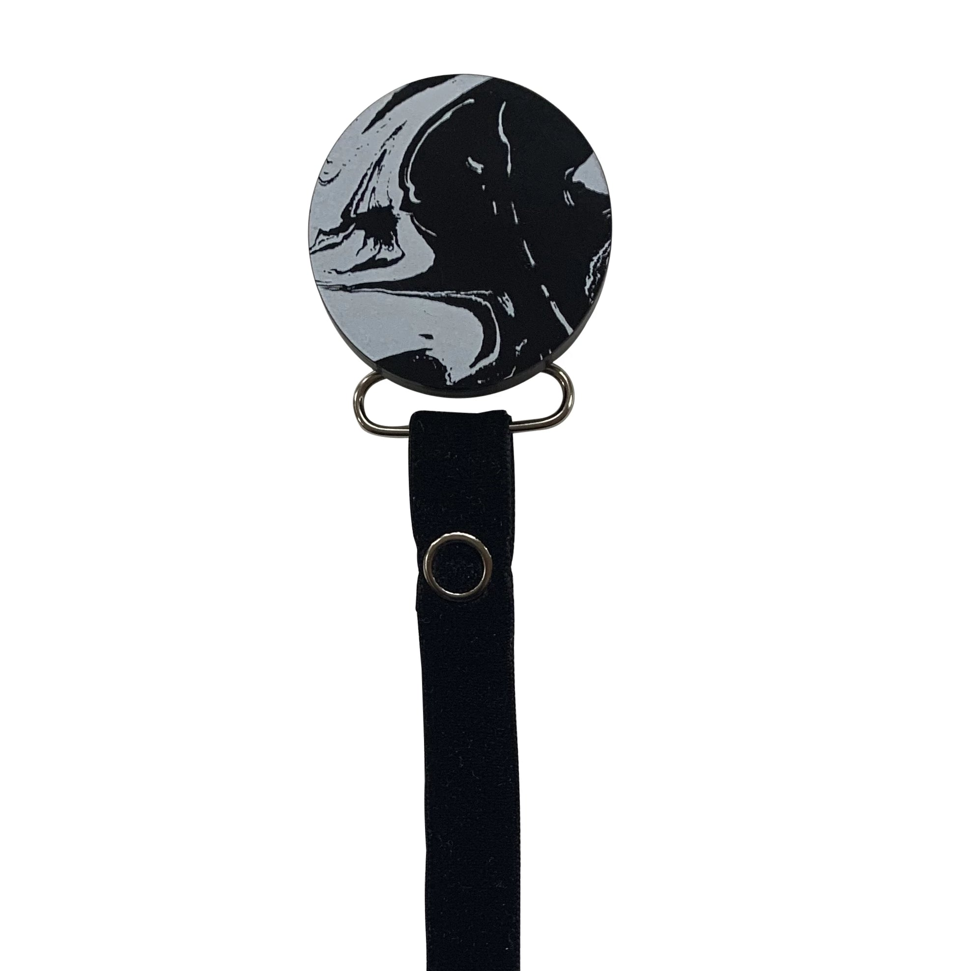 Classy Paci MARBLE black and white round pacifier clip with Bibs b/w glow pacifier GIFT SET