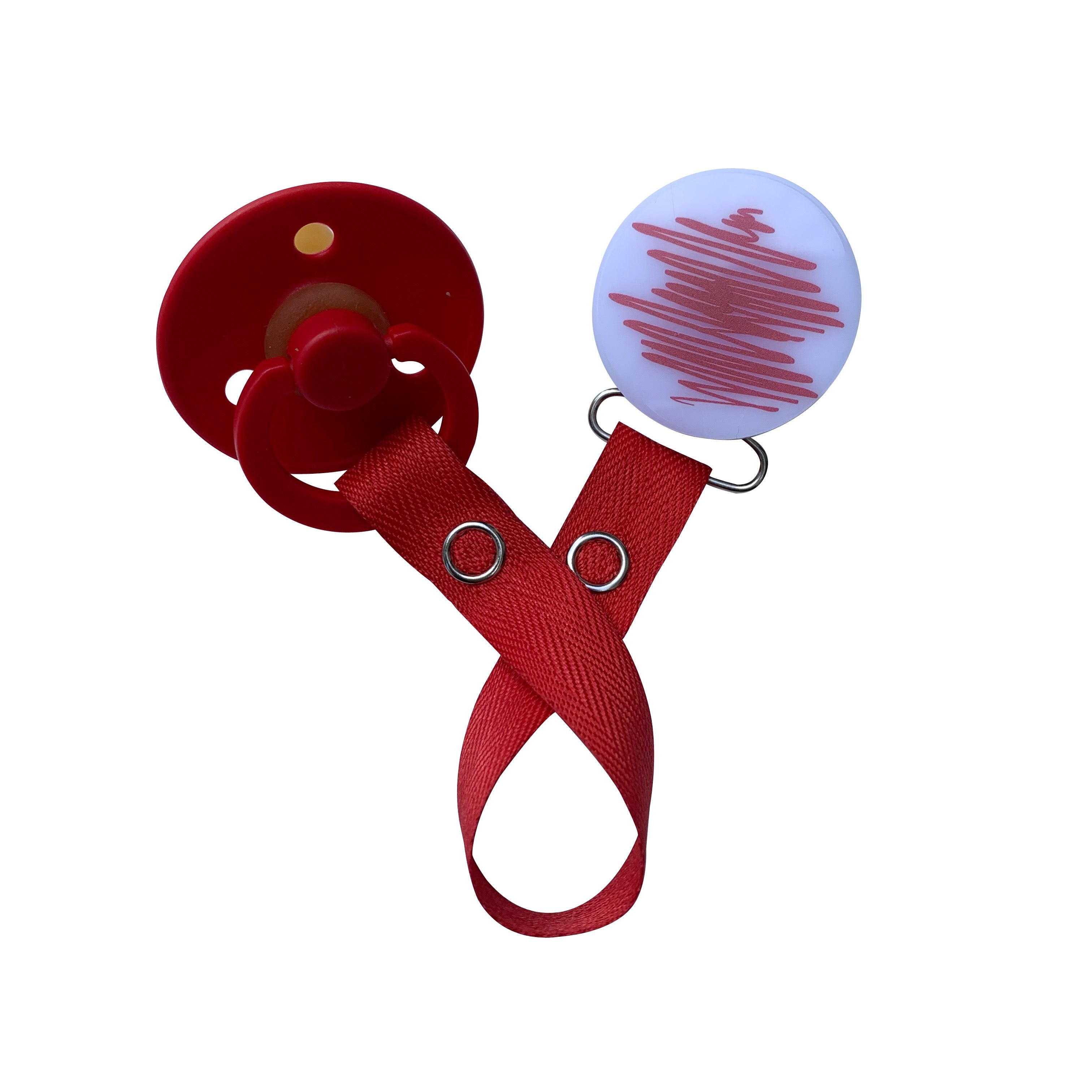 Classy Paci Doodle Red Round clip with Bibs pacifier GIFT SET