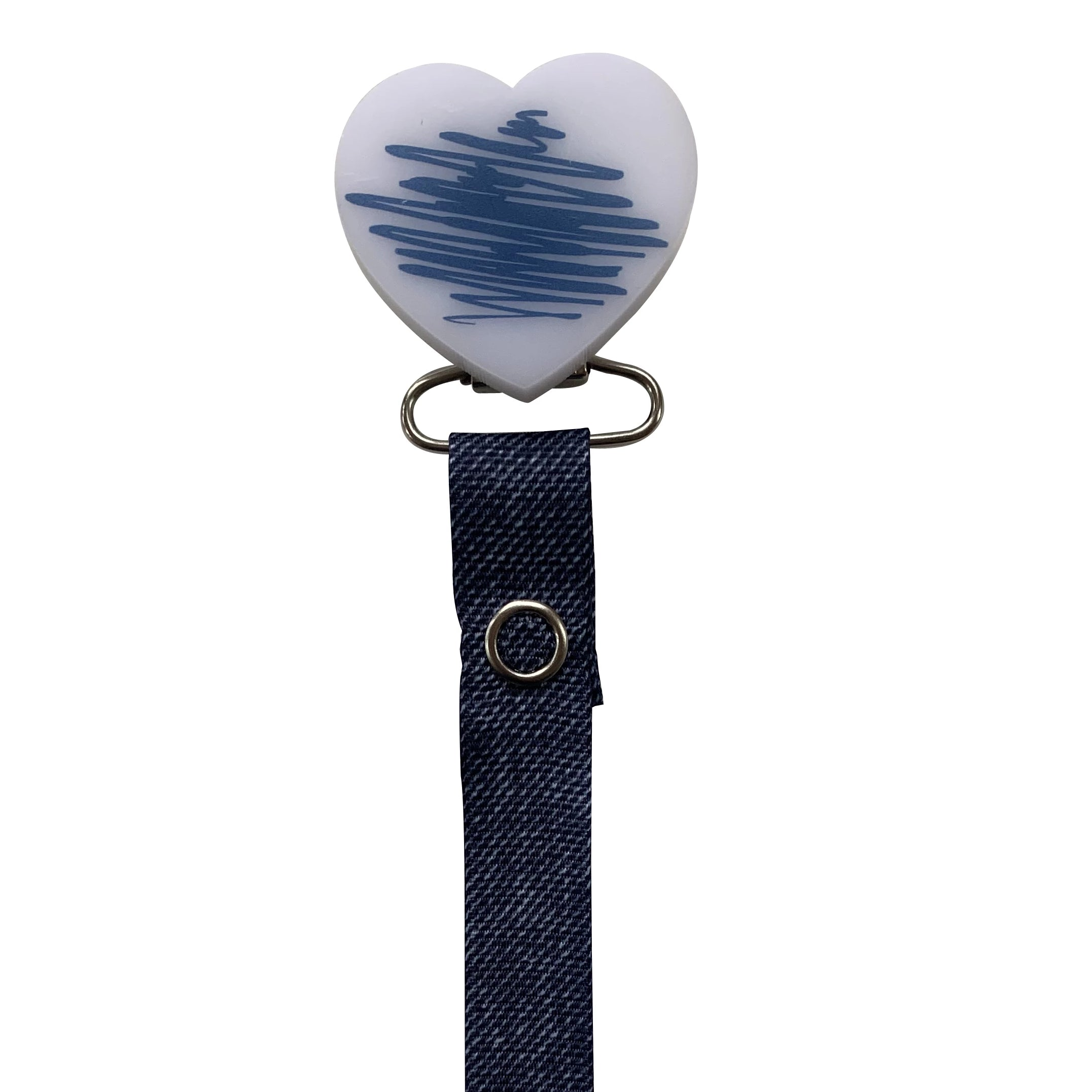 Classy Paci DOODLE blue denim heart pacifier clip with Bibs blue pacifier GIFT SET