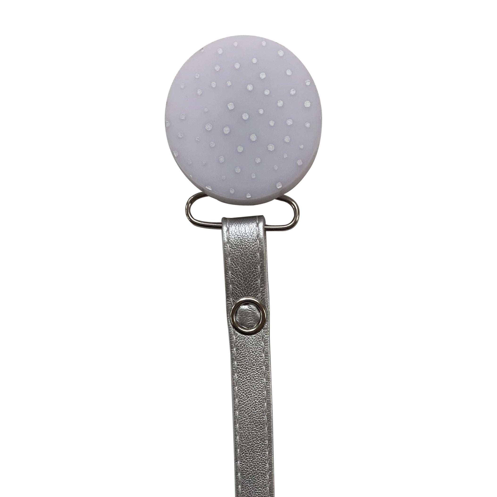 Classy Paci CHIC Grey Silver Polka Dot Round pacifier clip