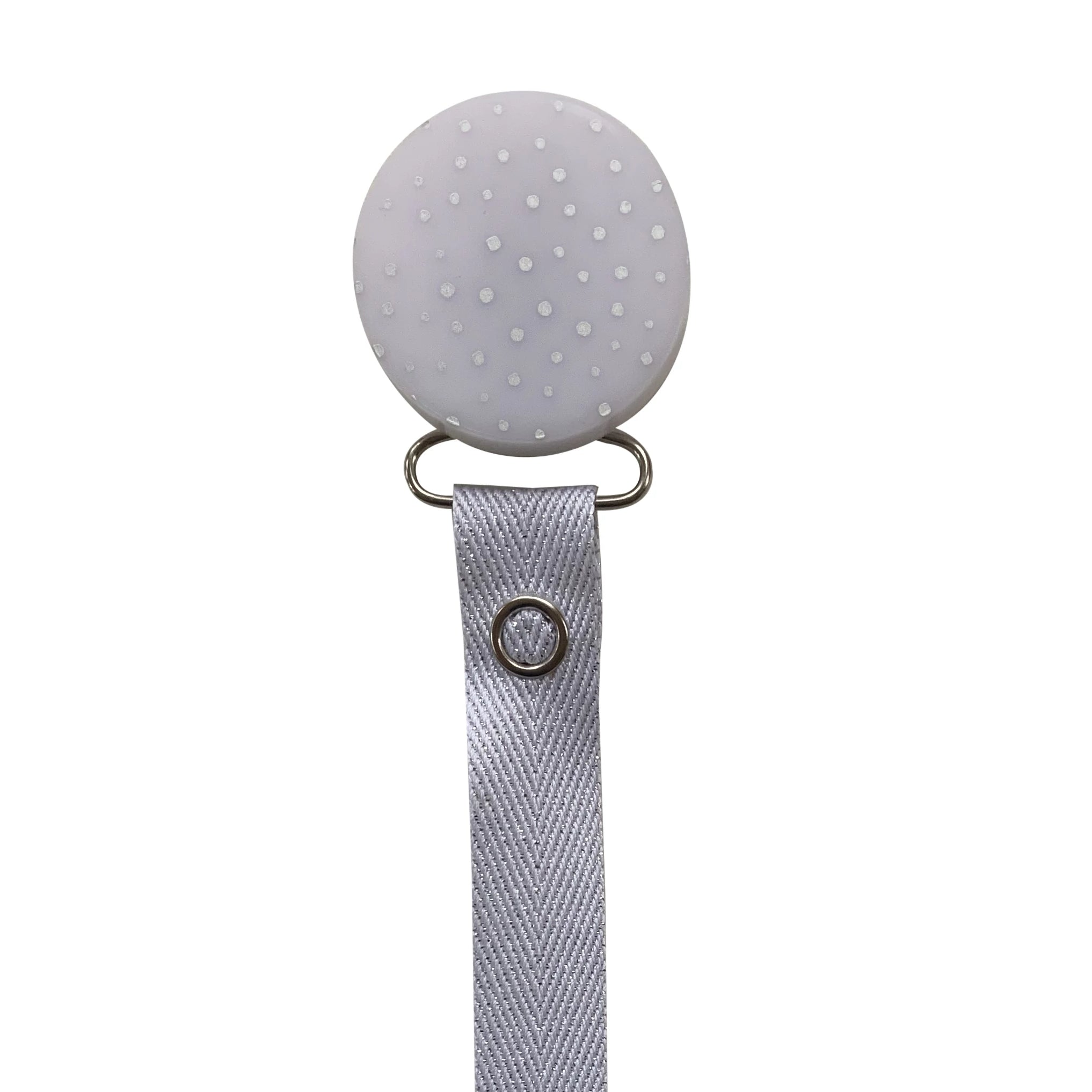 Classy Paci CHIC Grey Silver Polka Dot with heart Round pacifier clip