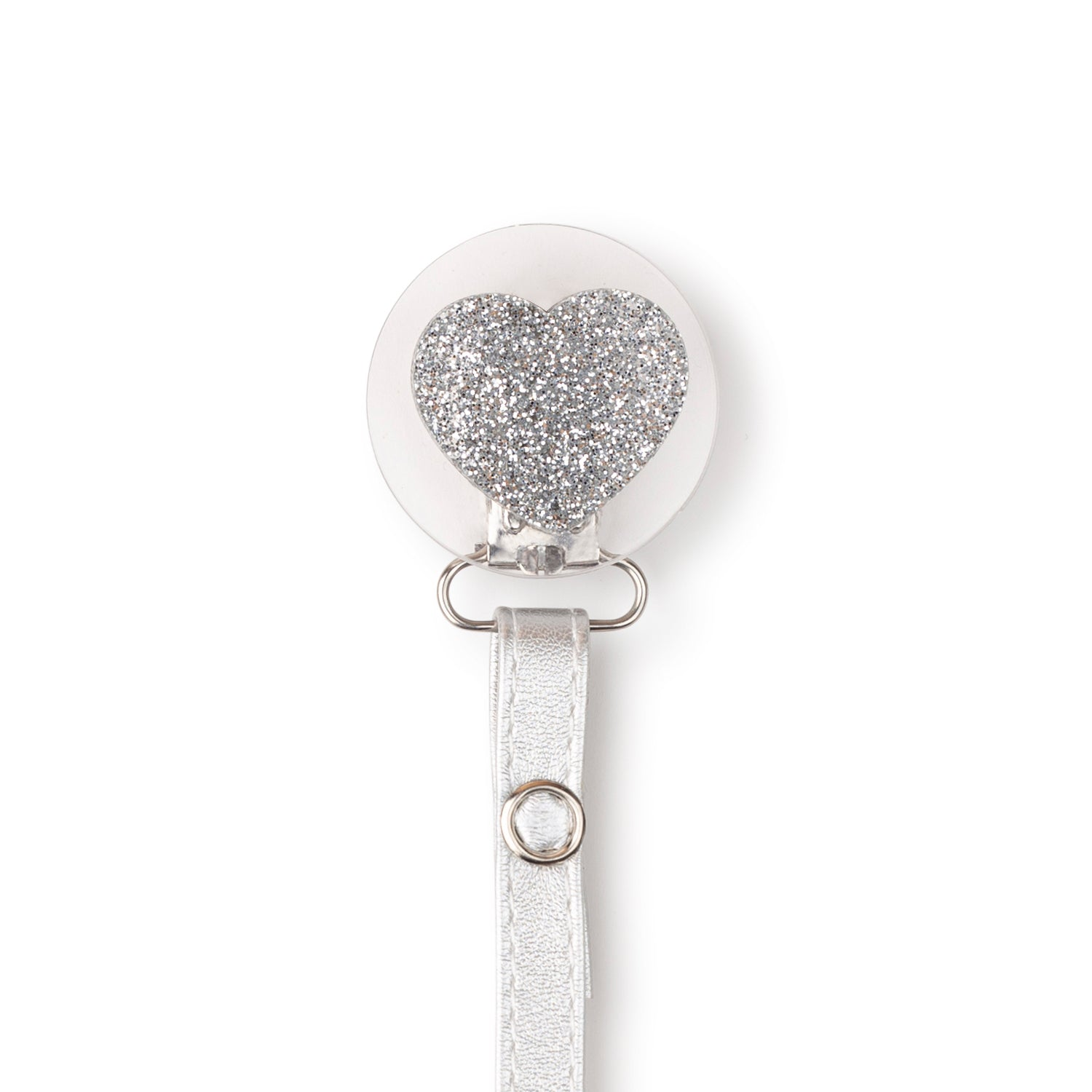 Classy Paci Clear with Silver sparkle heart pacifier clip