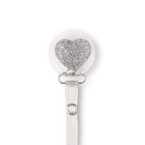 Classy Paci Clear with Silver heart  clip with Bibs pacifier GIFT SET
