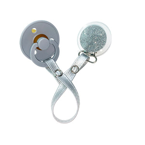 Classy Paci Clear with Silver circle clip with Bibs pacifier GIFT SET