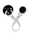 Classy Paci White with Black sparkle circle clip with BIBS pacifier GIFT SET