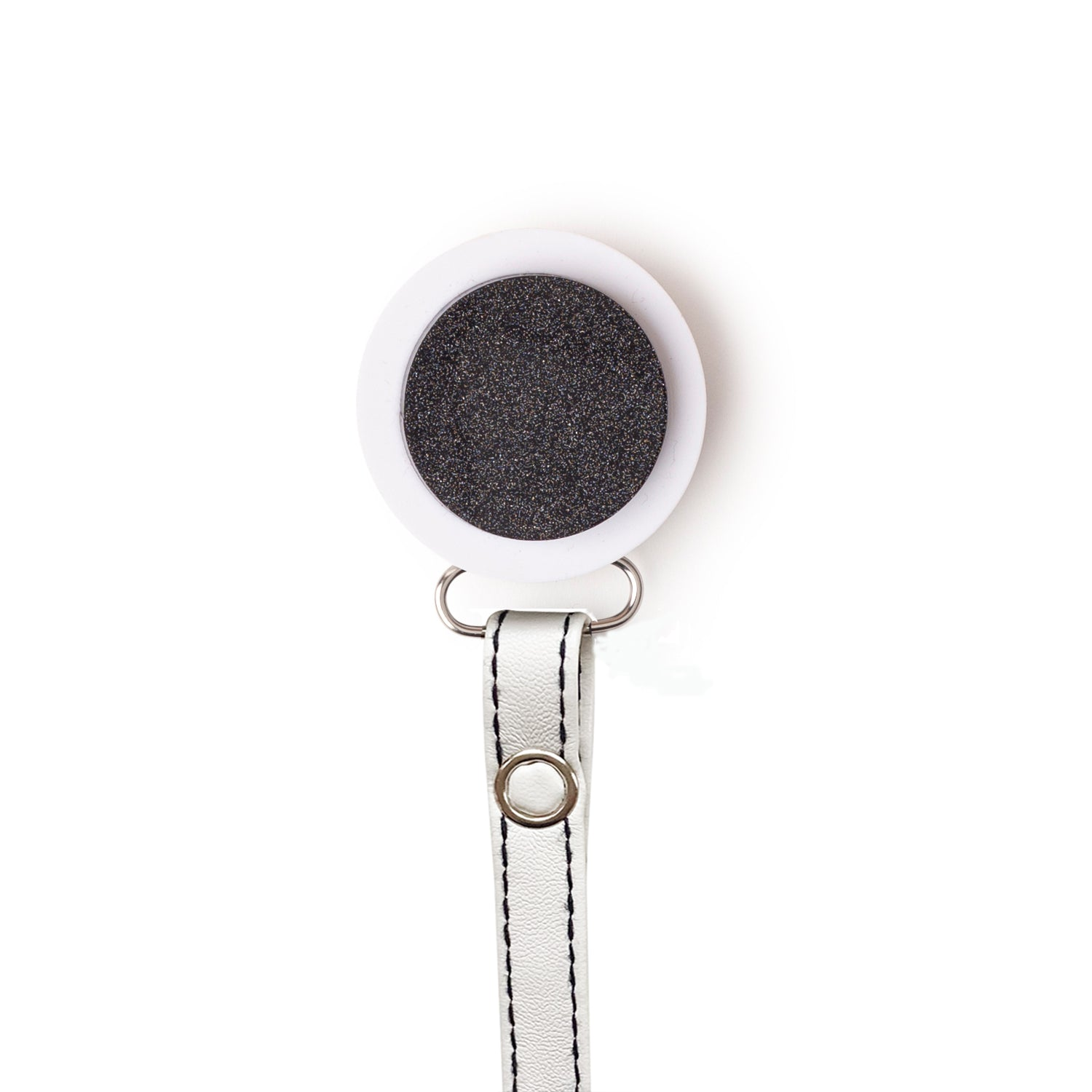 Classy Paci White with Black sparkle circle pacifier clip