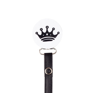 Classy Paci White with Black Crown circle pacifier clip