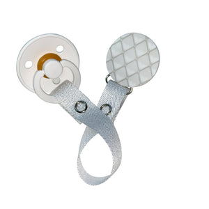 Classy Paci White quilted look circle clip with Bibs pacifier GIFT SET