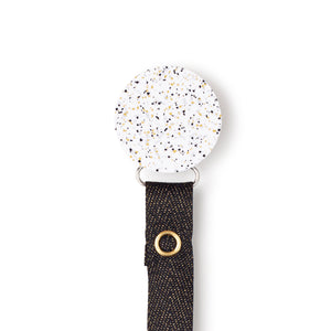 Classy Paci Speckled metallic gold black silver circle clip with Bibs pacifier GIFT SET