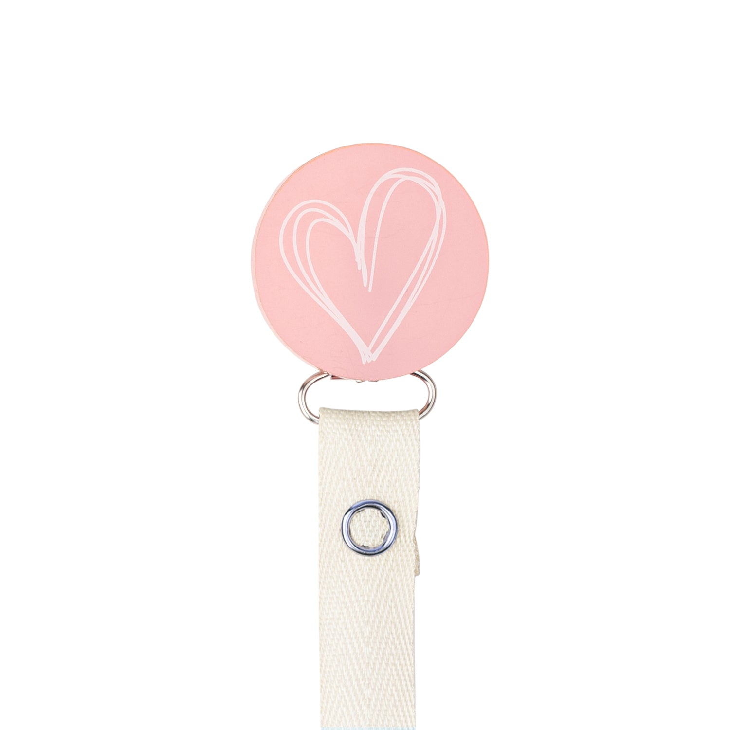 Classy Paci blush pink drawn white heart pacifier clip