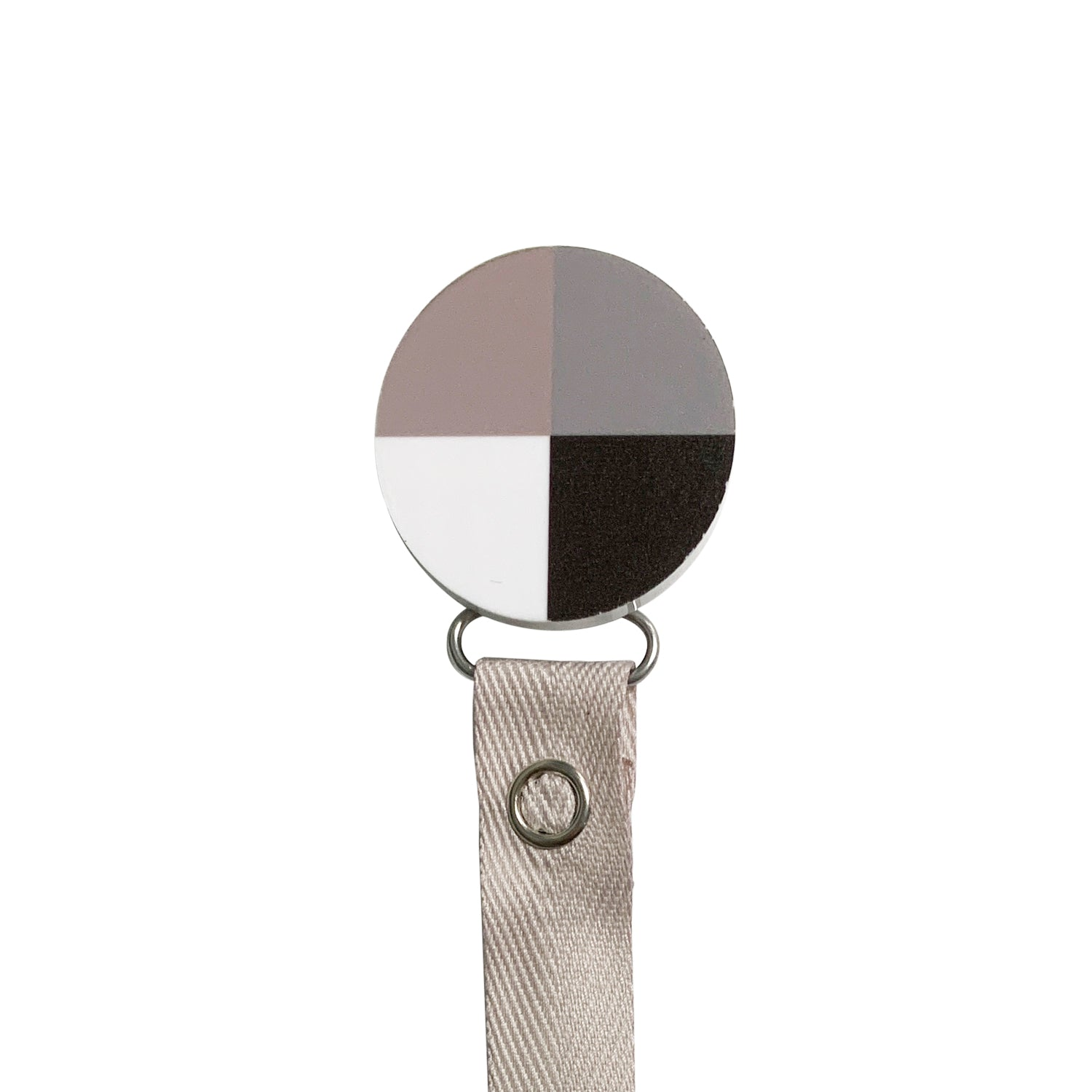 Classy Paci Hues of Grey Black Sand White Colorblock circle pacifier clip