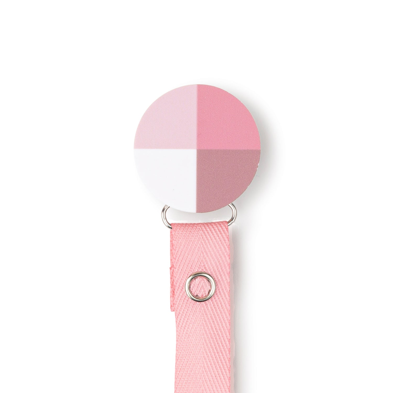 Classy Paci Hues of Pink blush, mauve Colorblock circle pacifier clip