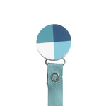 Classy Paci Hues of Blues Colorblock circle clip with BIBS pacifier GIFT SET
