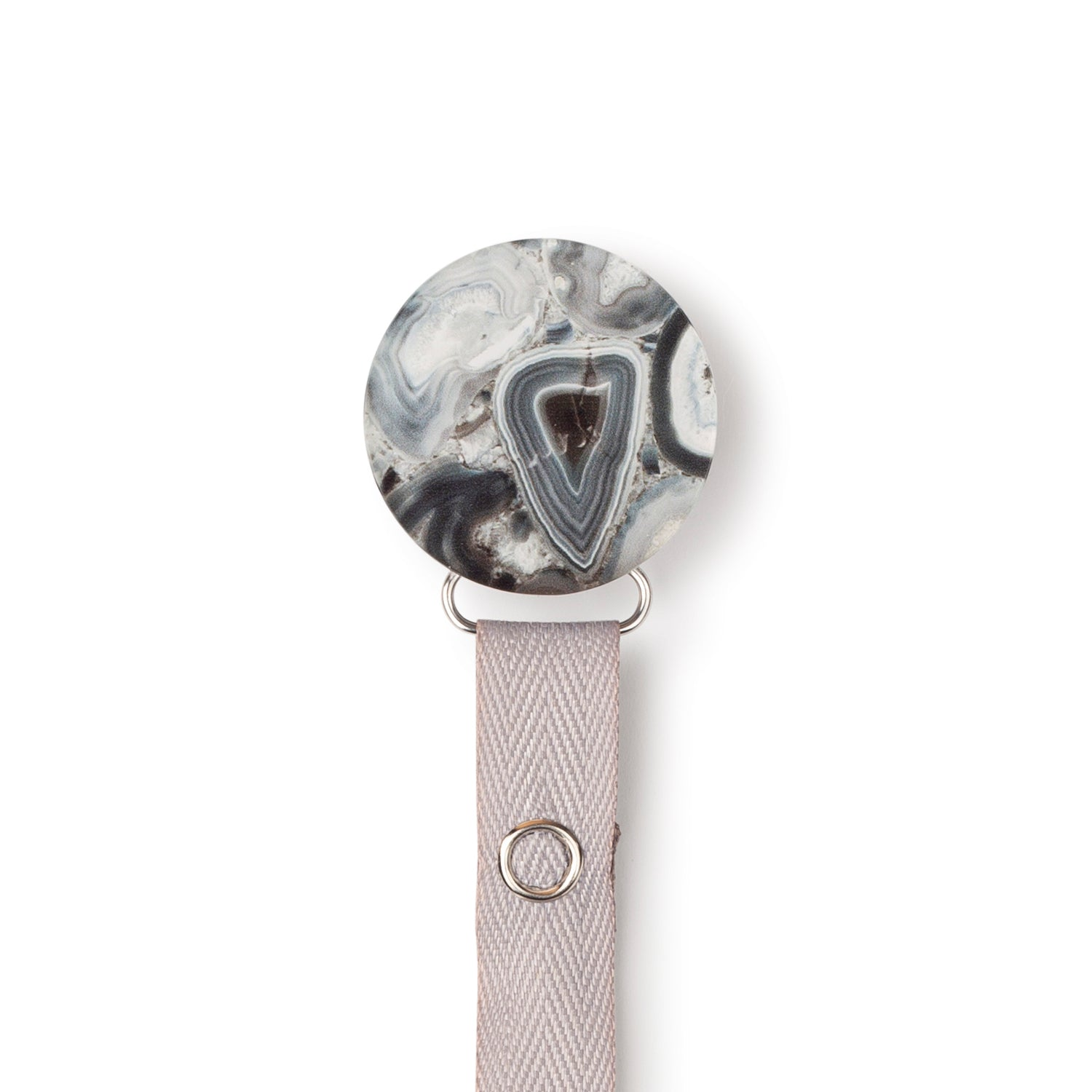 Classy Paci Silver grey black Agate circle clip with BIBS pacifier GIFT SET