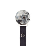 Classy Paci Silver grey black Agate  circle pacifier clip