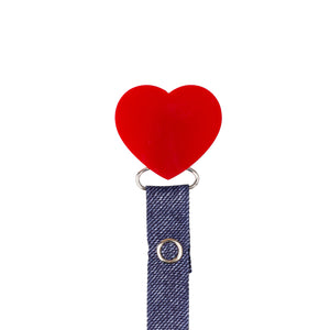 Classy Paci Red heart pacifier clip