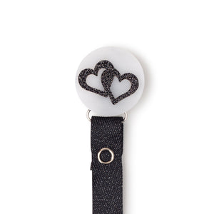 Classy Paci Marble black white onyx heart circle pacifier clip