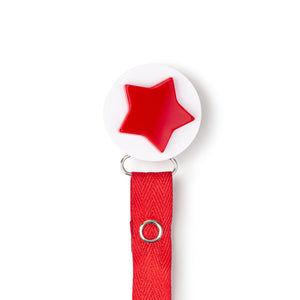 Classy Paci Red white 3-d star circle clip with BIBS pacifier GIFT SET