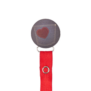 Classy Paci Denim Heart Pocket circle pacifier clip
