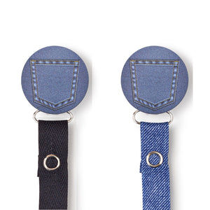 Classy Paci Jean Denim Pocket circle clip with BIBS pacifier GIFT SET