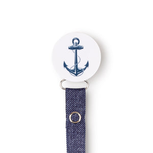 Classy Paci White and navy blue Anchor circle pacifier clip