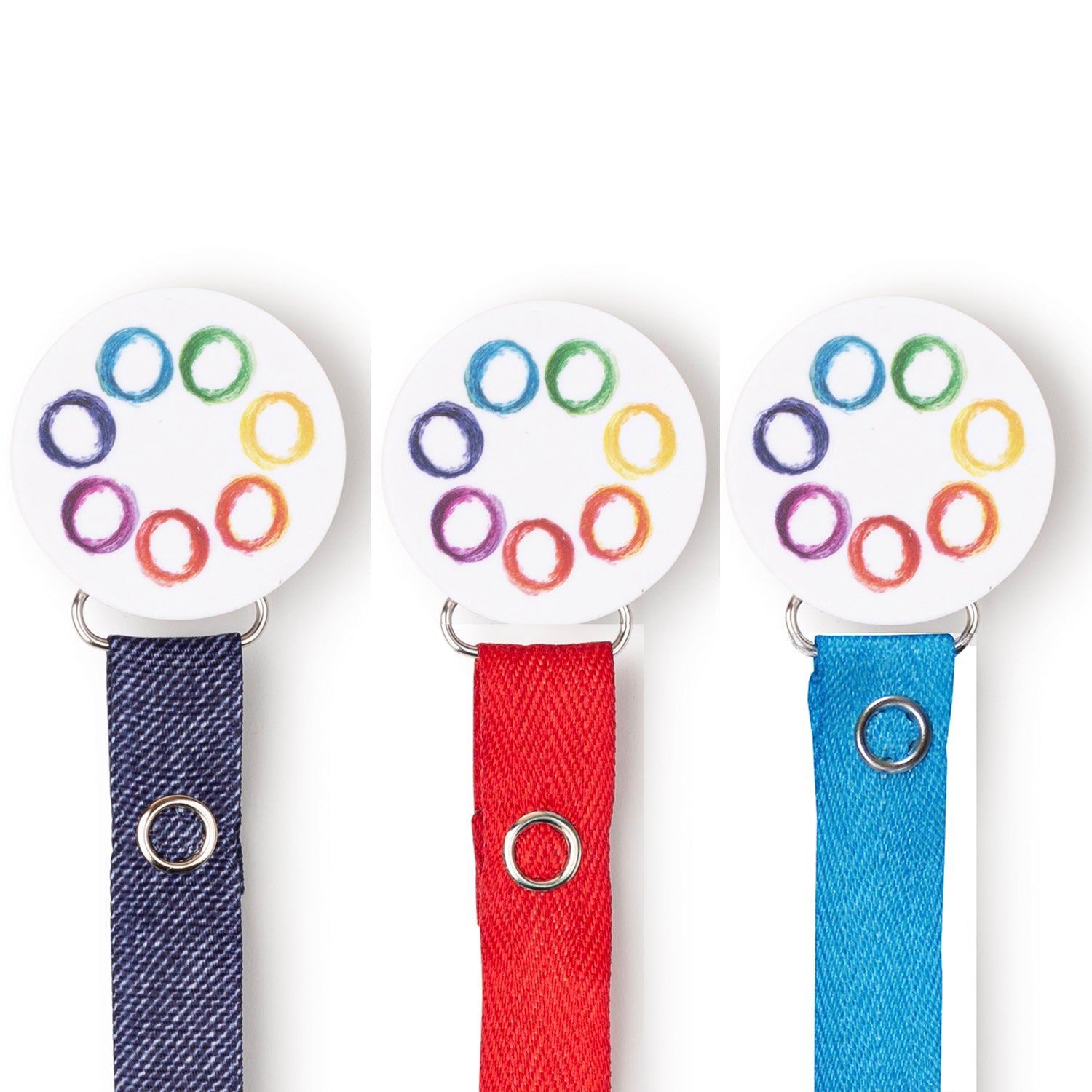 Classy Paci Rainbow Swirls circle clip with BIBS pacifier GIFT SET