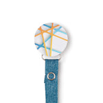 Classy Paci Aqua Fun turquoise orange circle clip with BIBS pacifier GIFT SET