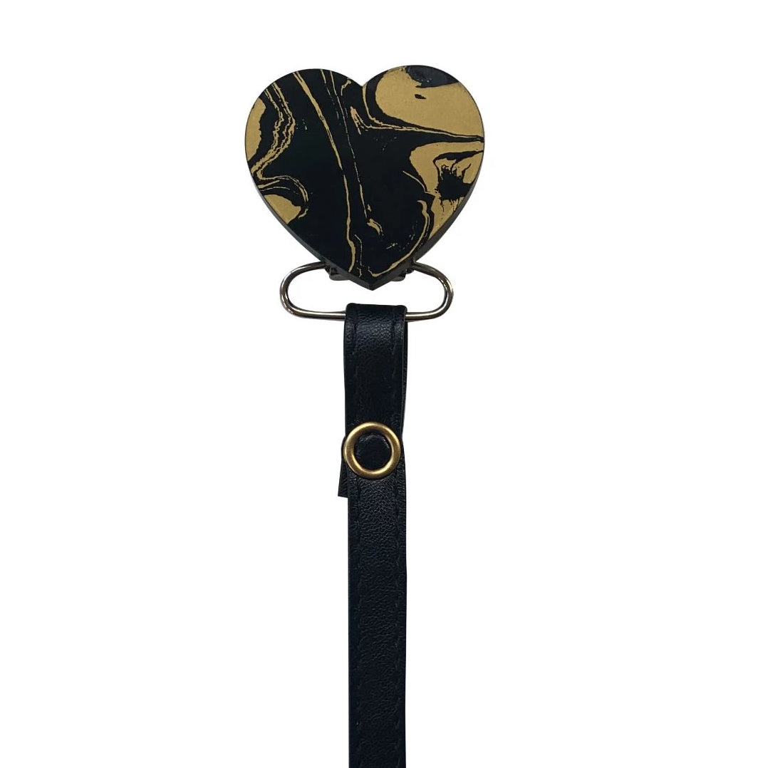 Classy Paci MARBLE black and gold heart clip with Bibs pacifier GIFT SET